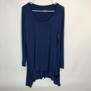 LOGO Lori Goldstein Top MP Blue Tunic Shirt Pocket